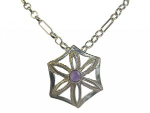 Silver and amethyst pendant by David Cooper