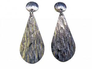 Silver textured earrings by Rhiannon Edwards