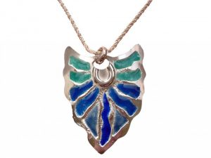 Silver etched and enamelled pendant by Wanda Arnold
