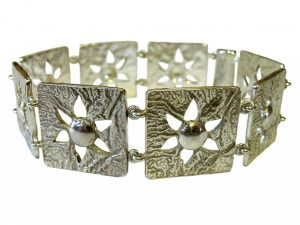 Reticulated and cast silver bracelet by David Cooper