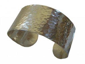Silver hammered cuff bracelet by Wanda Arnold
