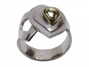 Silver and 18ct gold 'Heart' ring by Annette Whitley