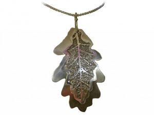 Etched silver 'Oak Leaf' pendant by Wanda Arnold, 2009