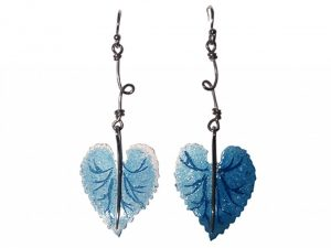Etched and enamelled silver earrings by Stella Stevani, 2009