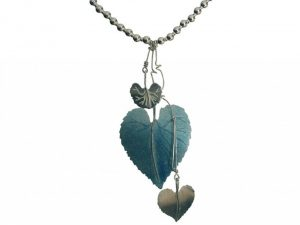 Etched and enamelled silver necklace by Stella Stevani